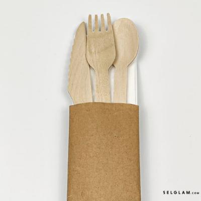 zestaw drewniane sztucce